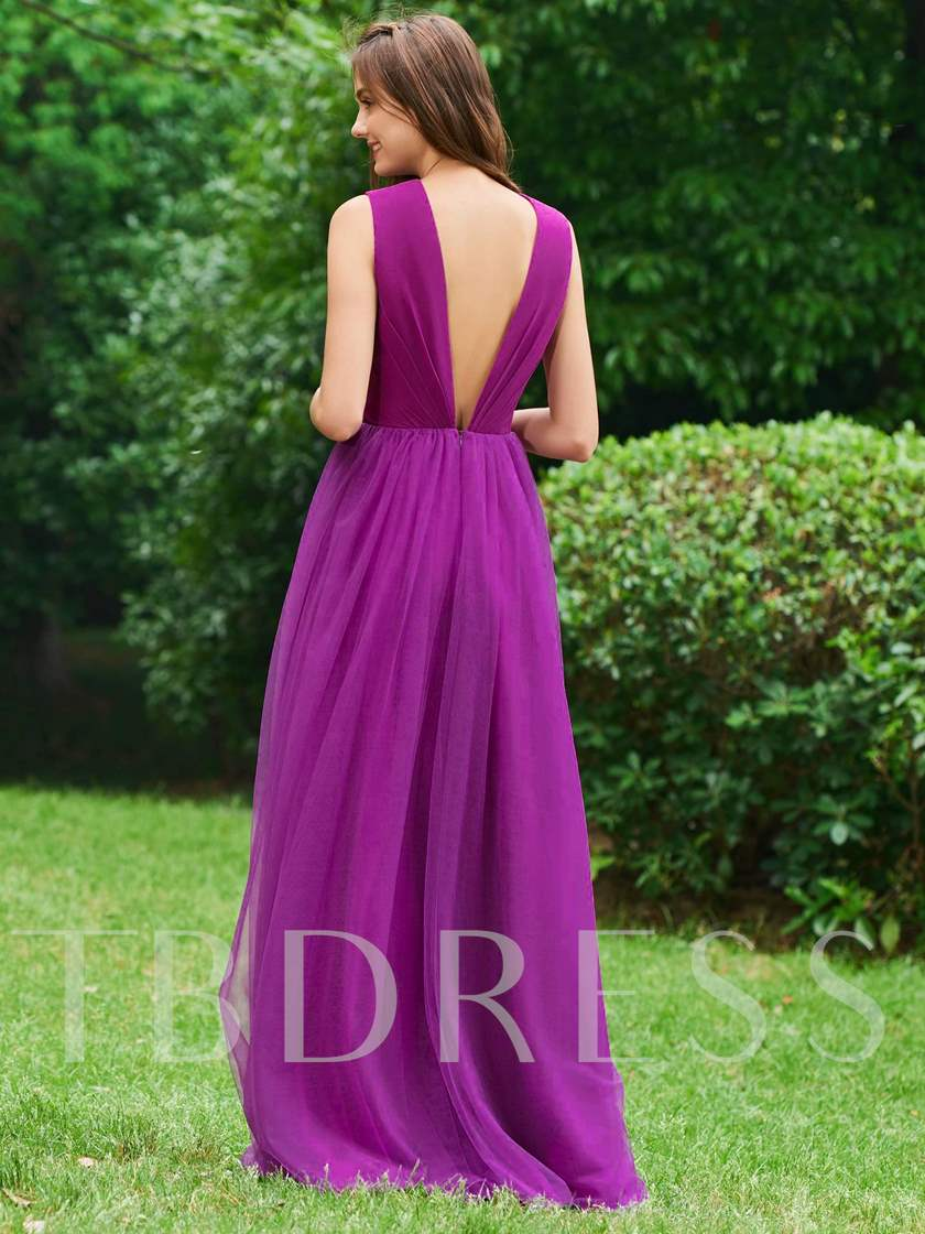 A-Line V-Neck Pleats Backless Evening Dress
