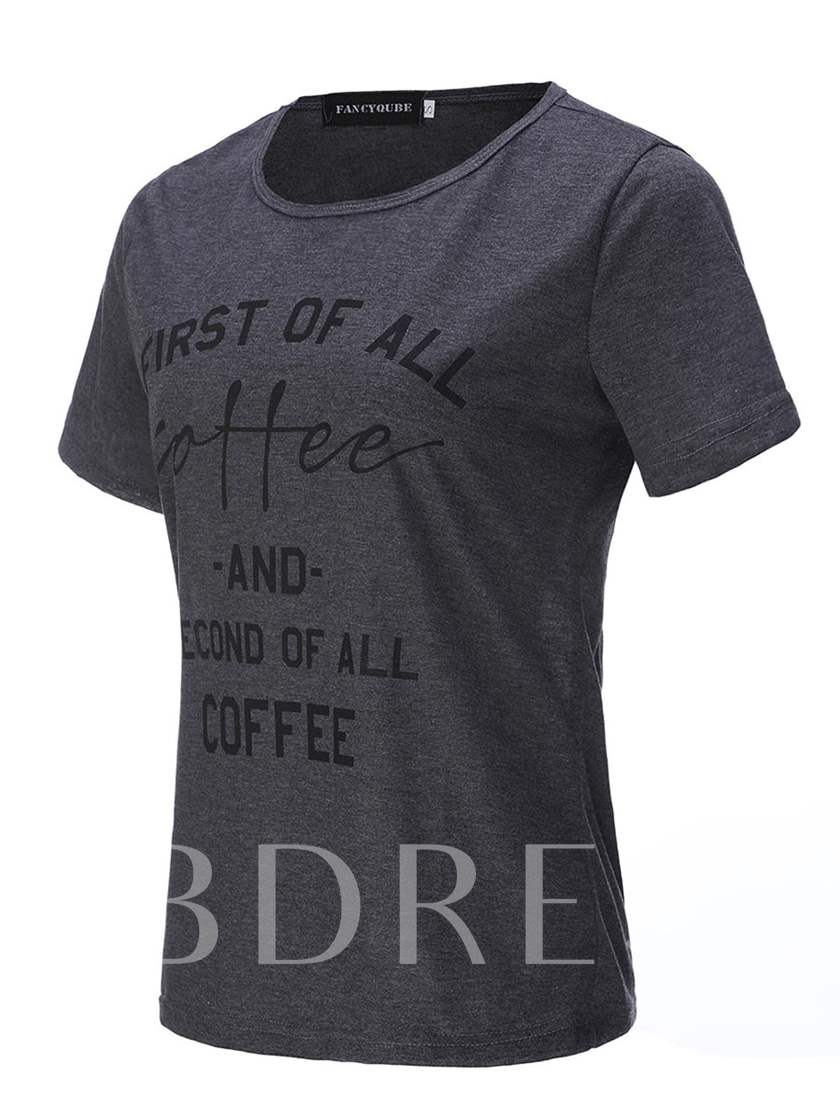Simple Letter Printed Women's T-Shirt