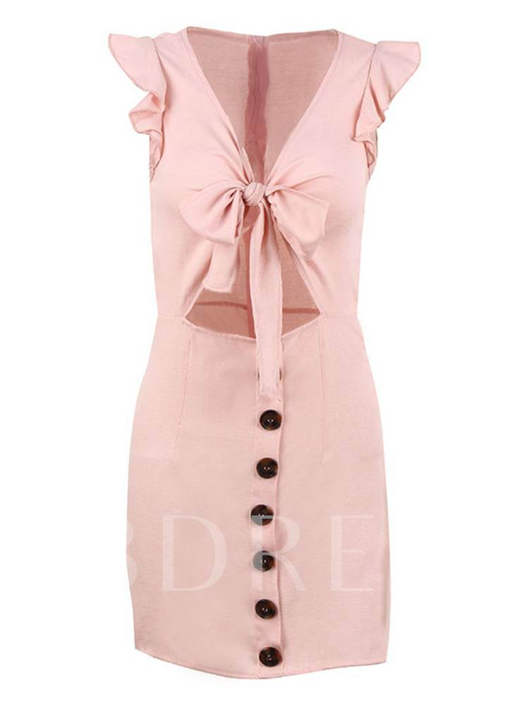 Single-Breasted Tie Neck Women's Party Dress
