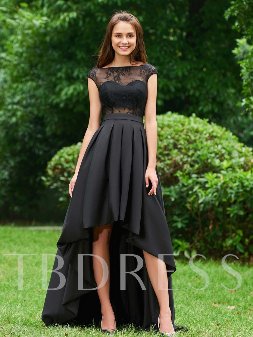 Bateau Neck Button Lace High Low Prom Dress