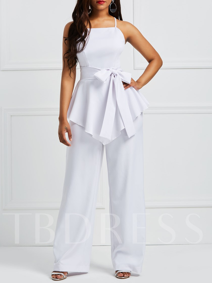 Plain Bow Tie Wide Legs Cami Women's Jumpsuit