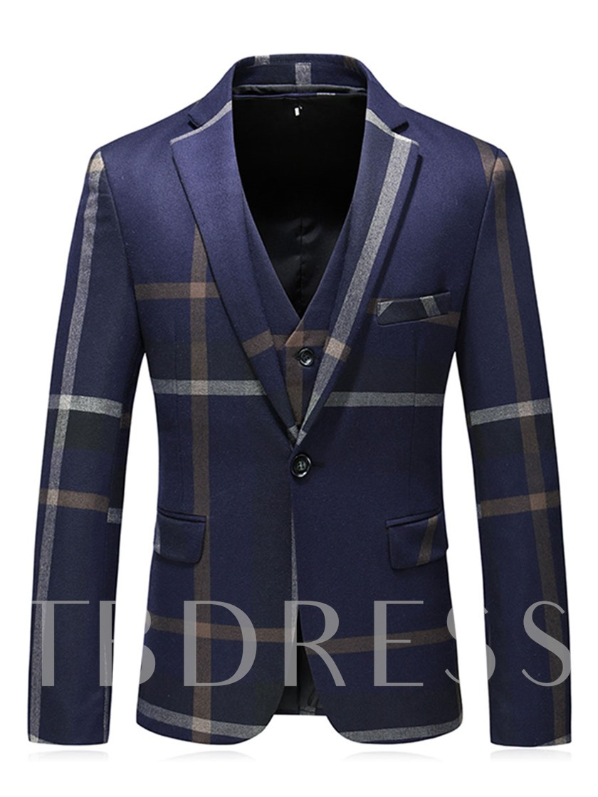 Three-Piece Notched Collar Stripe Slim Men's Dress Suit