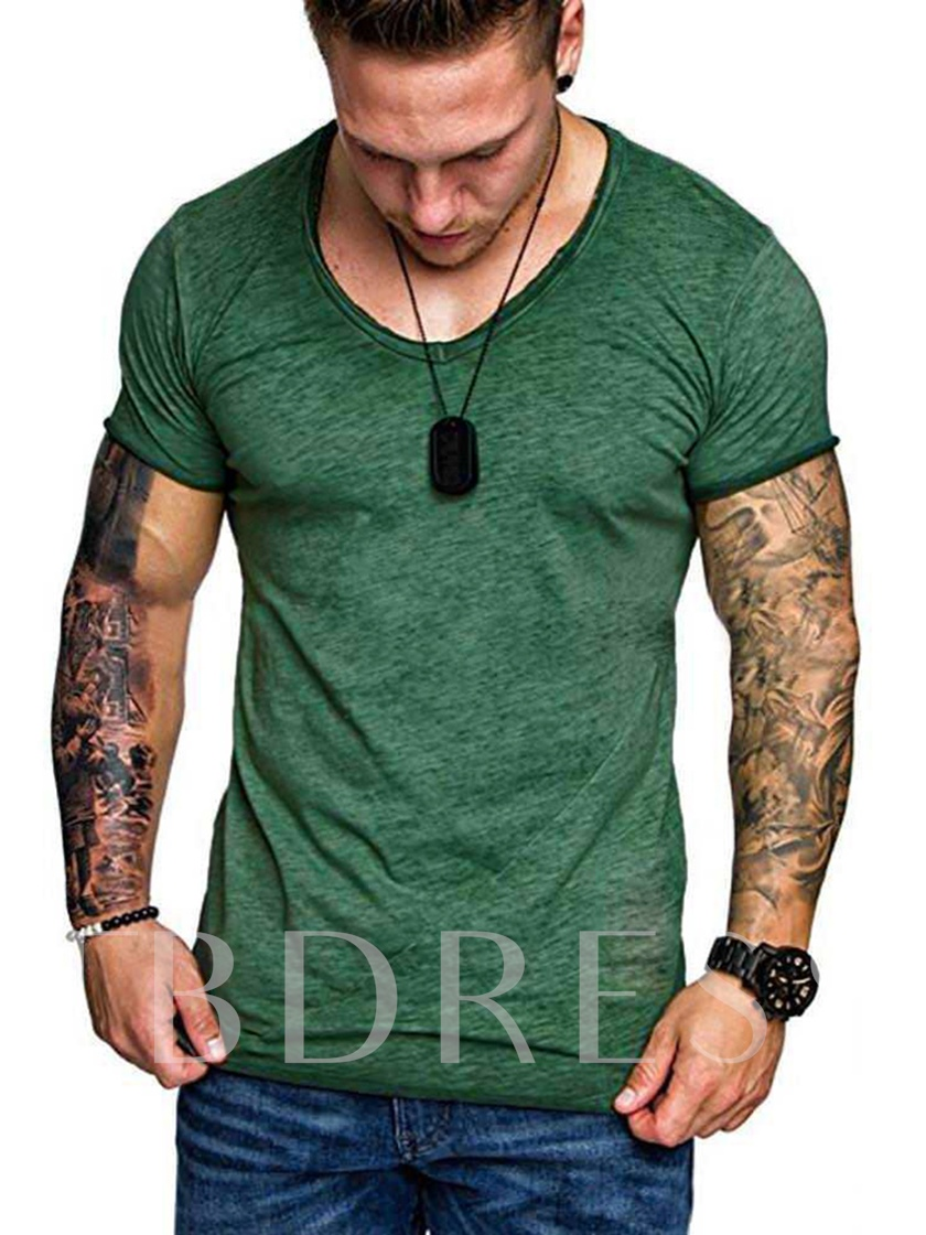 Multicolor Choose Round Neck Plain Loose Basic Men's T-shirt