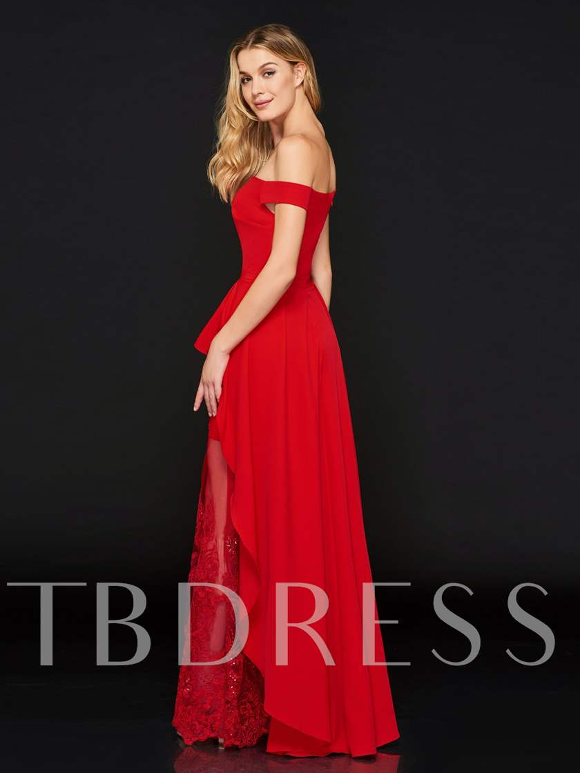 A-Line Off-the-Shoulder Lace Beading Evening Dress