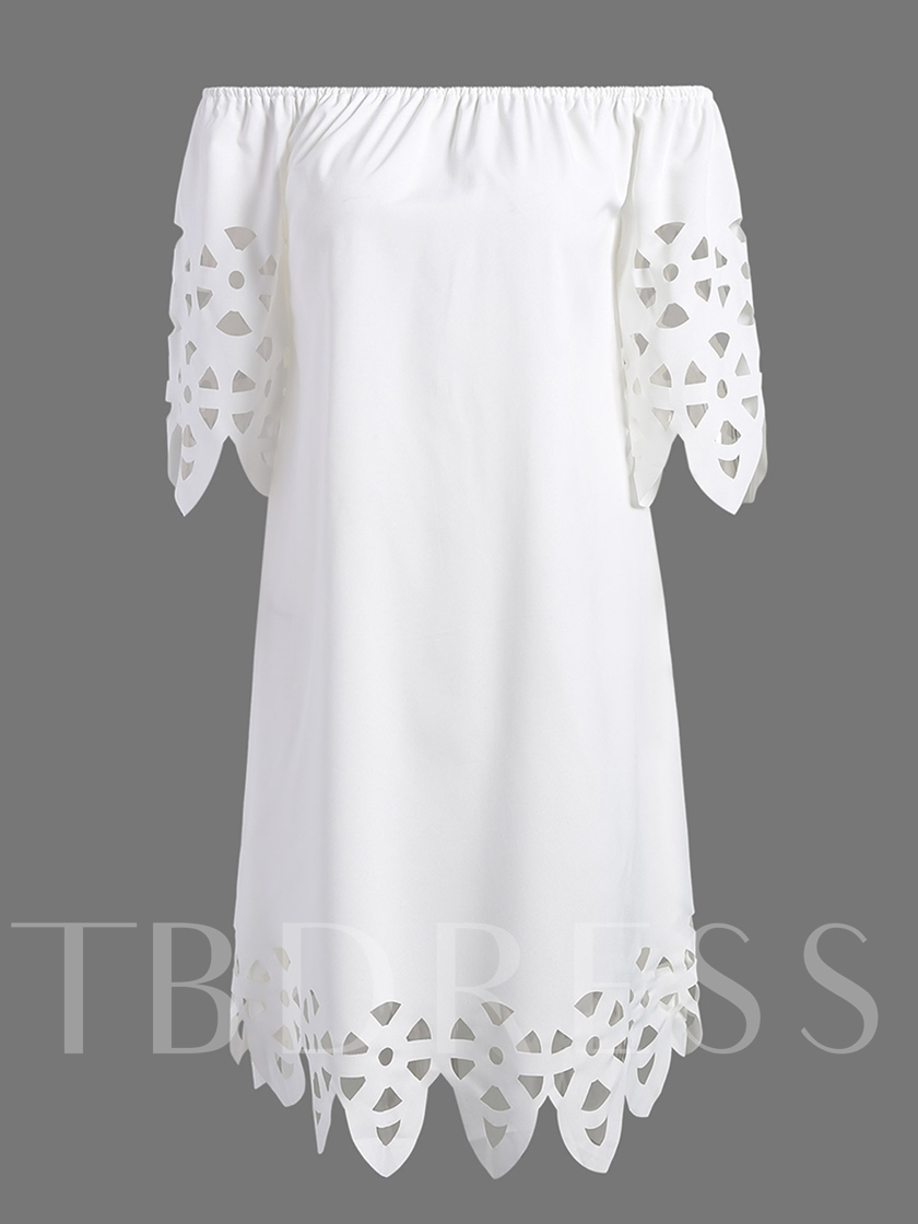White Hollow Off Shoulder Women's Day Dress