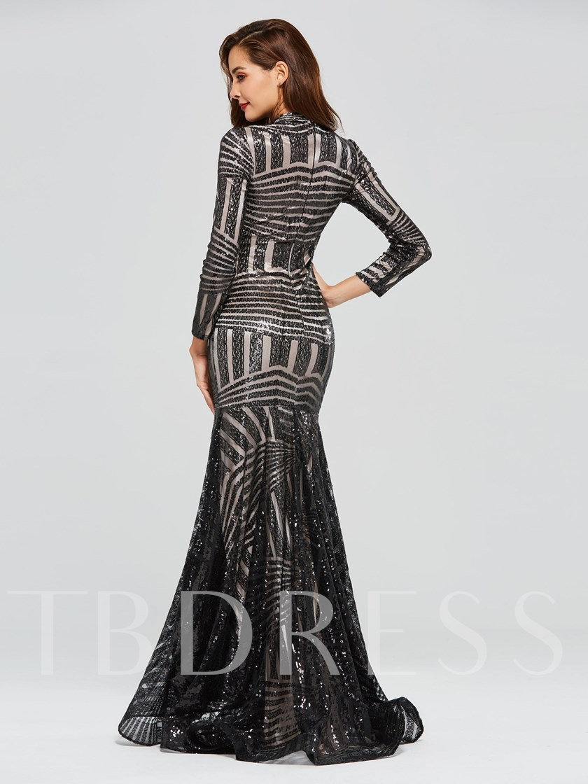 Long Sleeves High Neck Trumpet Sequins Evening Dress