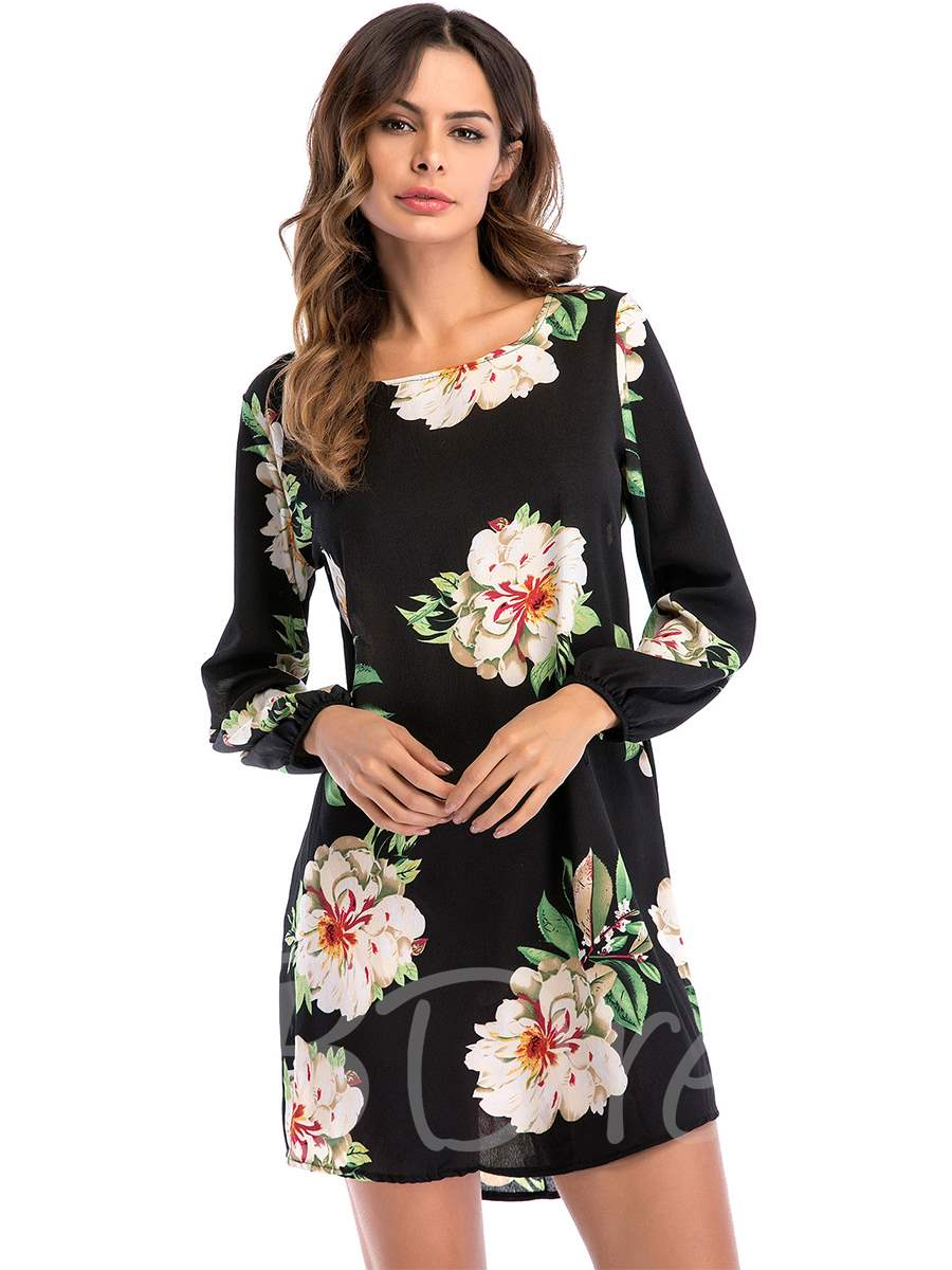 Buy Round Neck Floral Prints Women's Day Dress, Summer,Fall, 13354872 for $8.82 in TBDress store