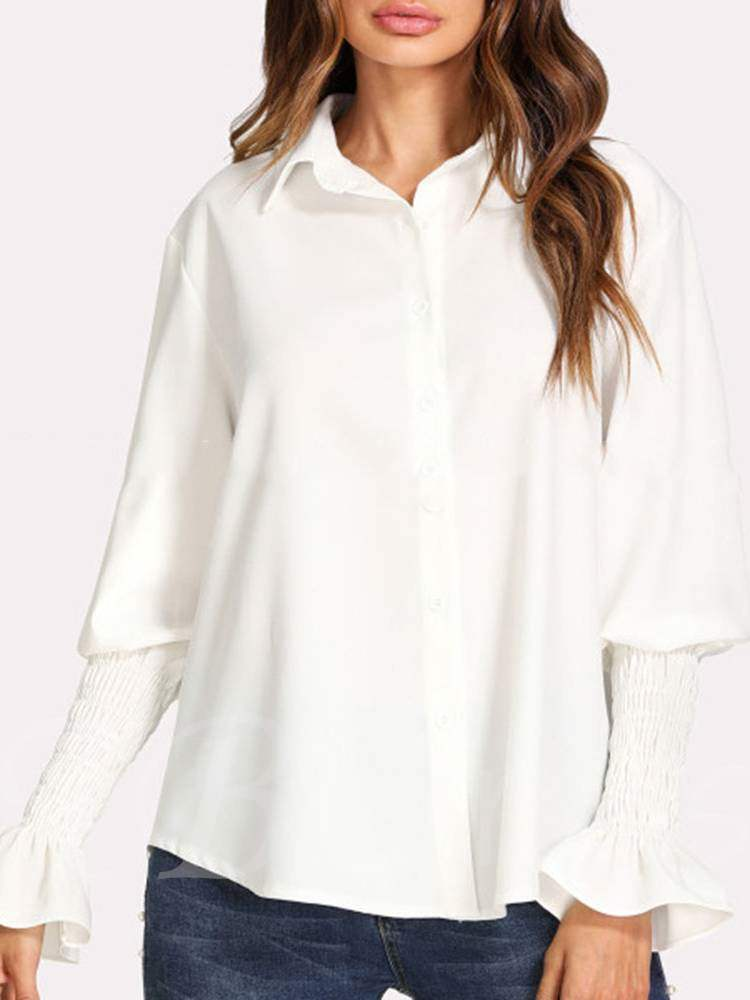 Buy Plain Bell Sleeve Ruched Long Sleeve Women's Shirt, Spring,Fall, 13354897 for $16.54 in TBDress store