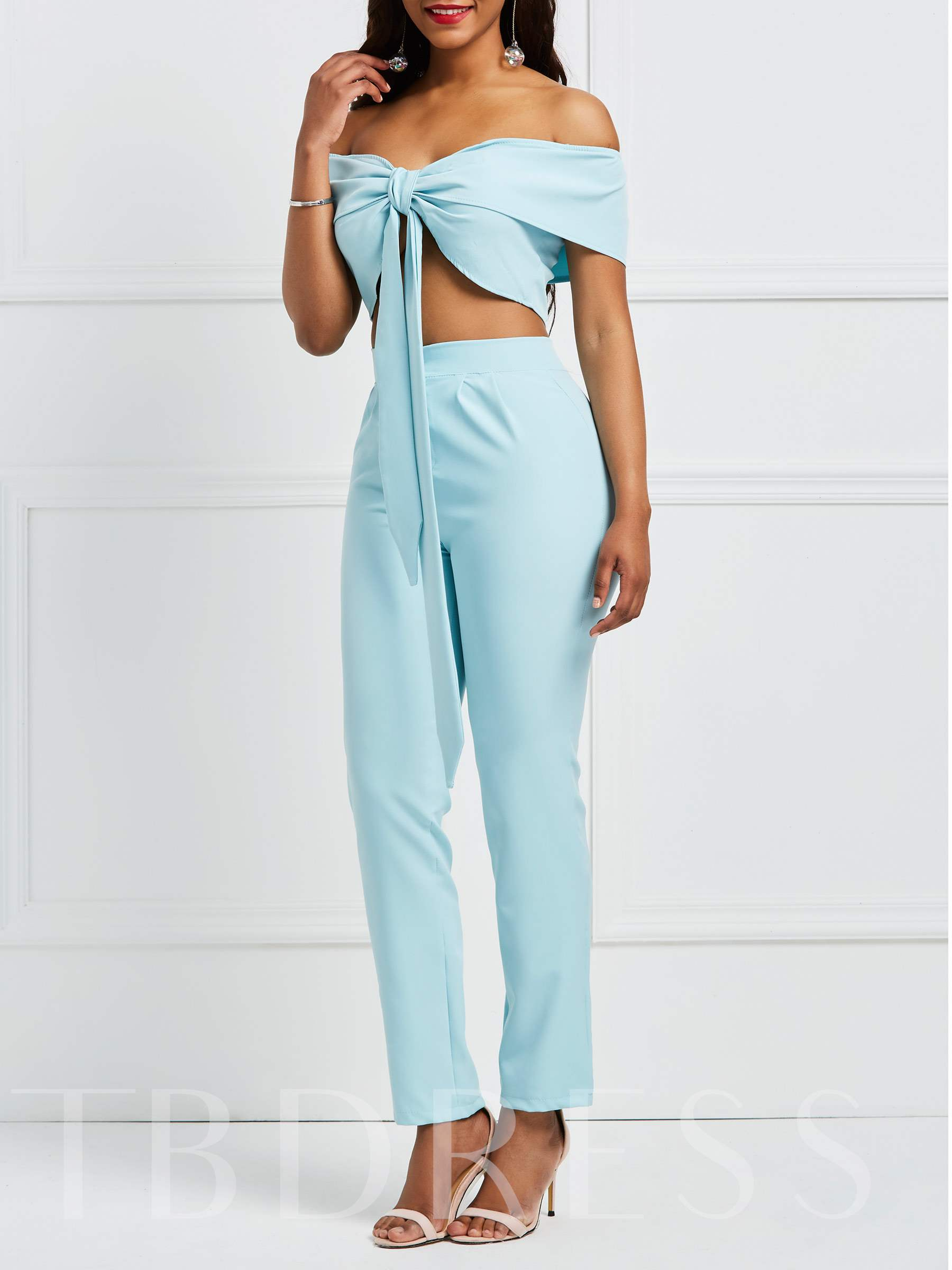 Buy Lake Blue Off Shouder Tie Front Crop Top with Pants Women's Two Piece Set, 13331045 for $14.71 in TBDress store