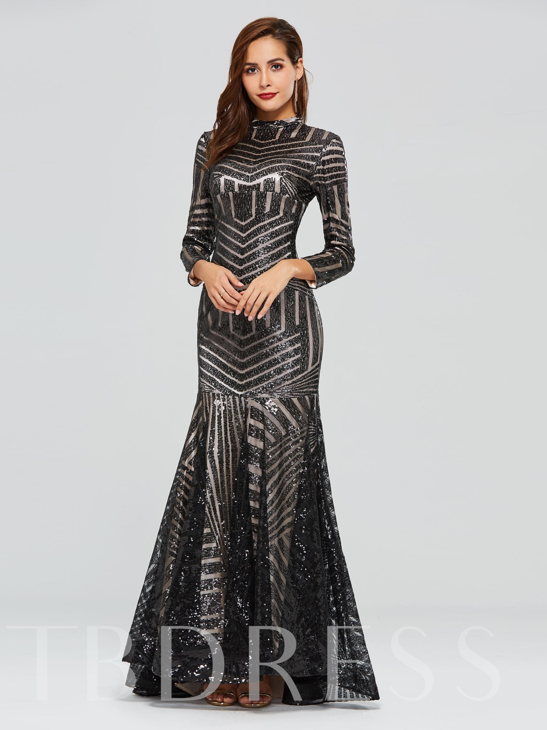Buy Trumpet Long Sleeves High Neck Sequins Evening Dress, Spring,Summer,Fall,Winter, 13318465 for $143.31 in TBDress store