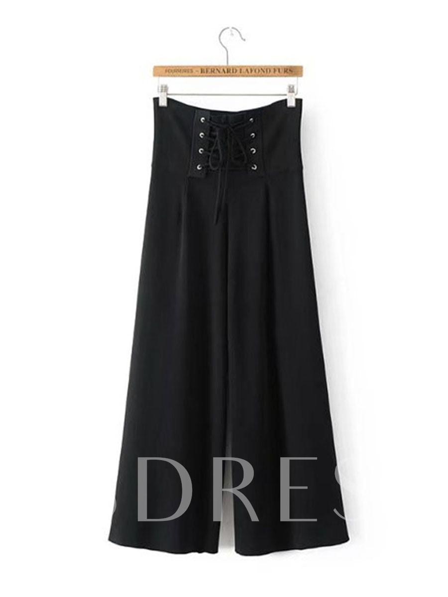 Buy Plain Wide Legs Lace-Up Women's Casual Pants, Spring,Summer, 13315232 for $20.18 in TBDress store