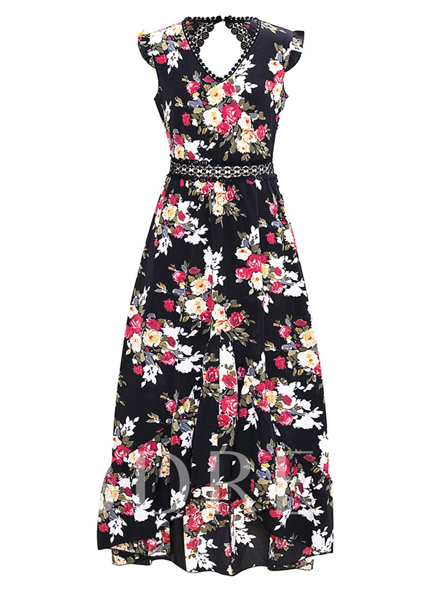 Buy Cap Sleeve Open Back Floral Prints Maxi Dress, Summer, 13317859 for $22.79 in TBDress store