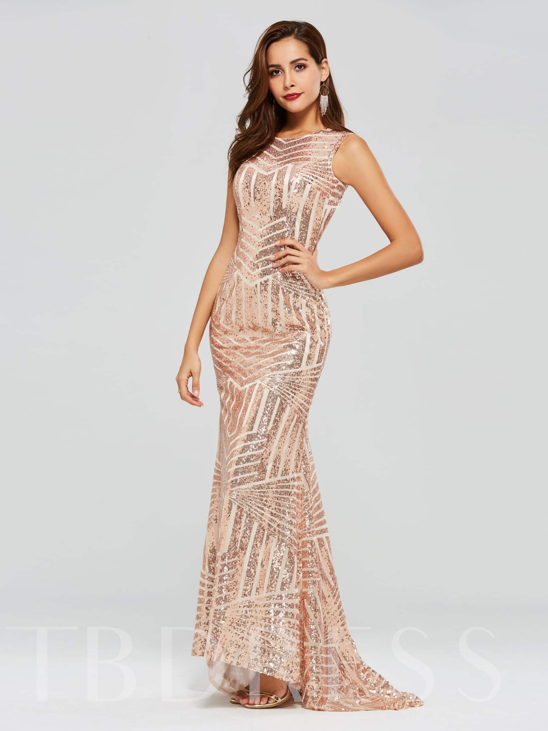 Buy Mermaid Sequins Backless Scoop Evening Dress, Spring,Summer,Fall,Winter, 13318467 for $128.98 in TBDress store
