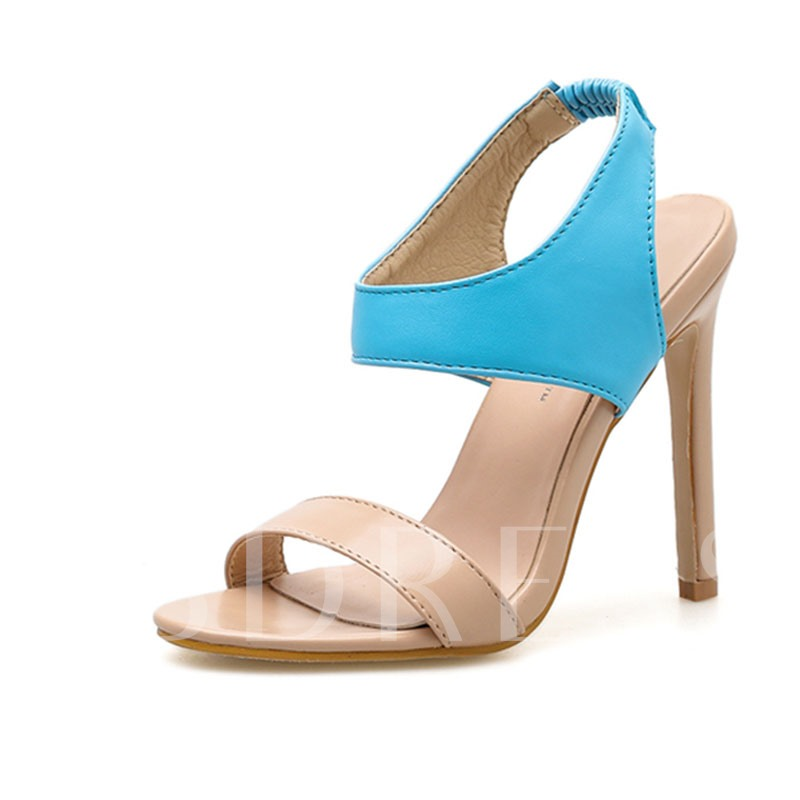 Buy Ankle Strap Elastic Band Stiletto Heel Color Block Women's Sandals, Spring,Summer, 13316135 for $39.99 in TBDress store
