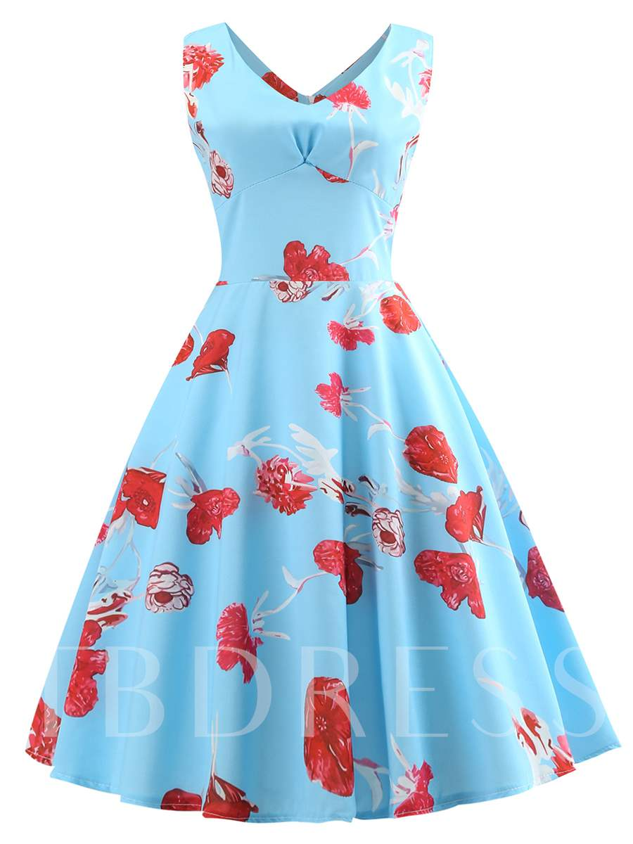 Buy Round Neck Sleeveless Floral Prints Day Dress, Summer, 13316157 for $12.87 in TBDress store
