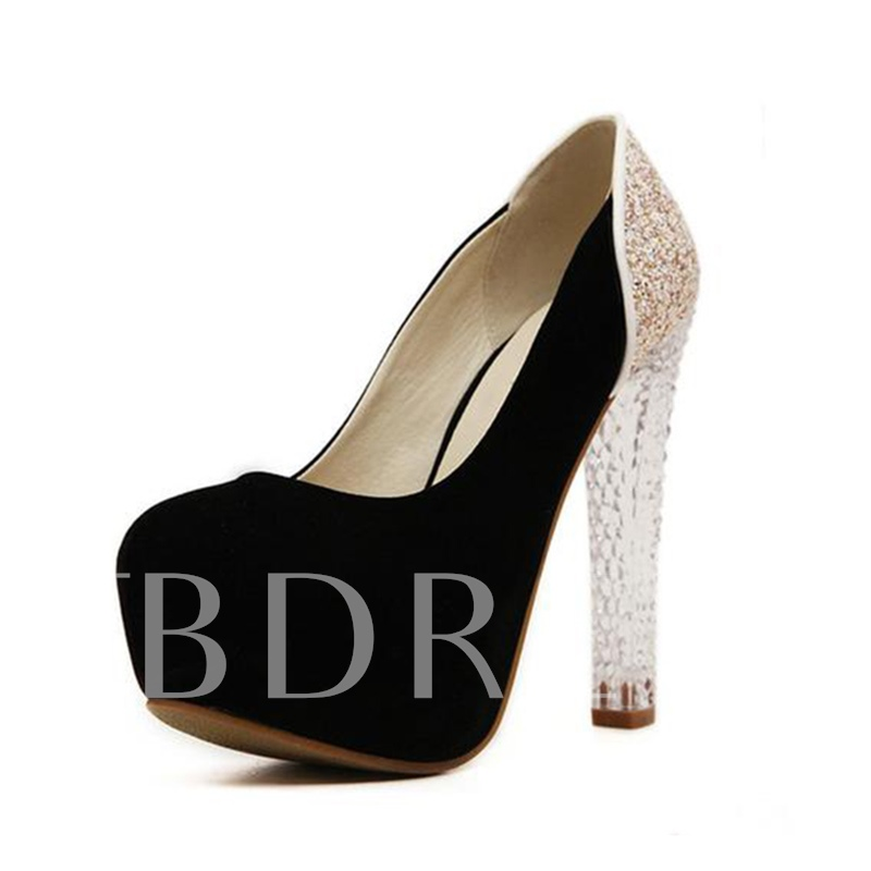 Buy Sparkly Sequin Platform Suede Chunky Heel Pumps for Women, Spring,Summer,Fall, 13316144 for $49.48 in TBDress store
