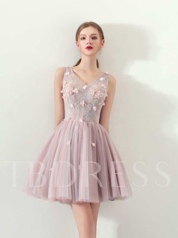 Buy A-Line Appliques Flowers Lace Mini Homecoming Dress, Spring,Summer,Fall,Winter, 13331767 for $118.53 in TBDress store