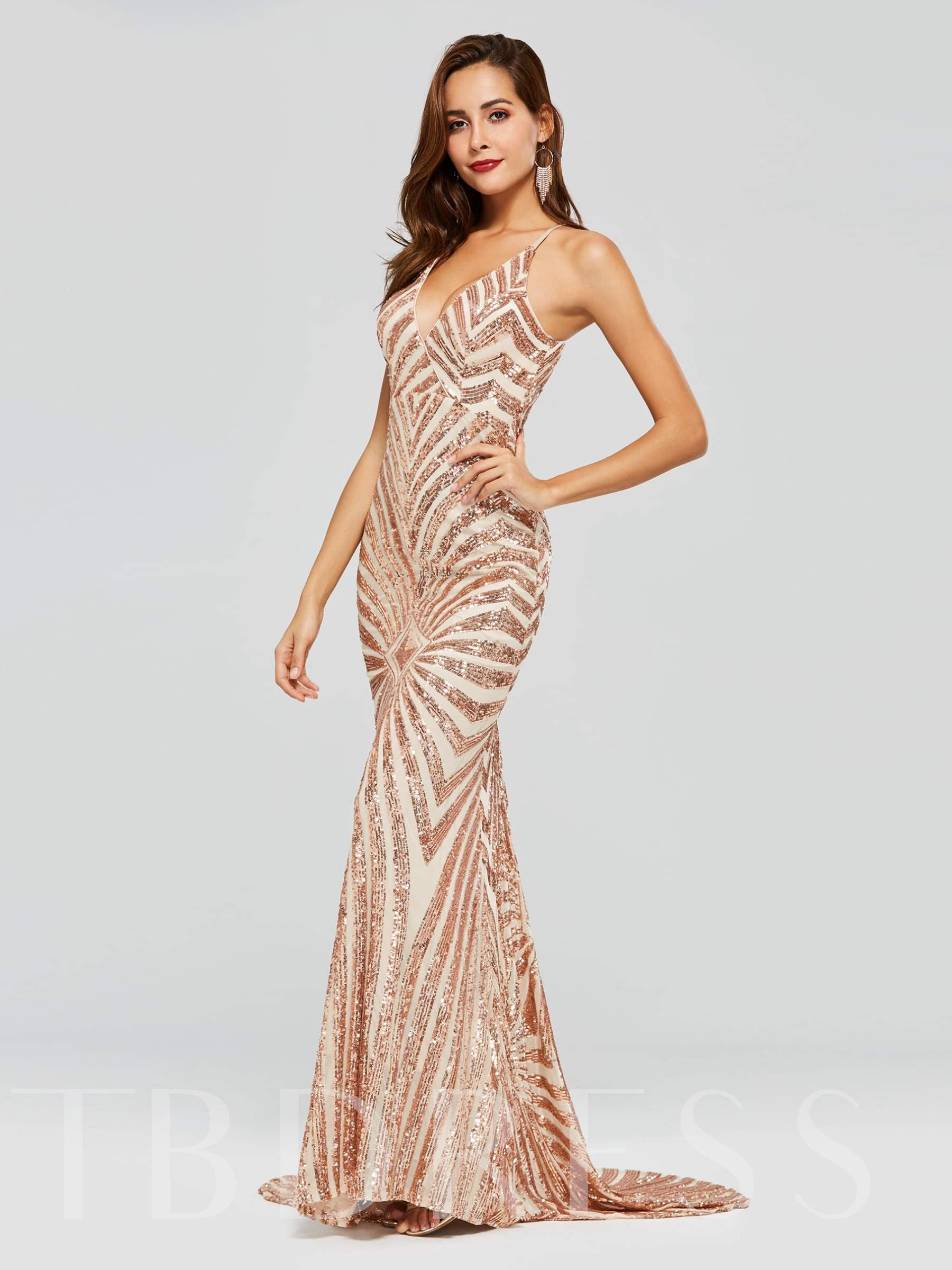 Buy Mermaid Sequins Spaghetti Straps Evening Dress, Spring,Summer,Fall,Winter, 13318470 for $128.98 in TBDress store