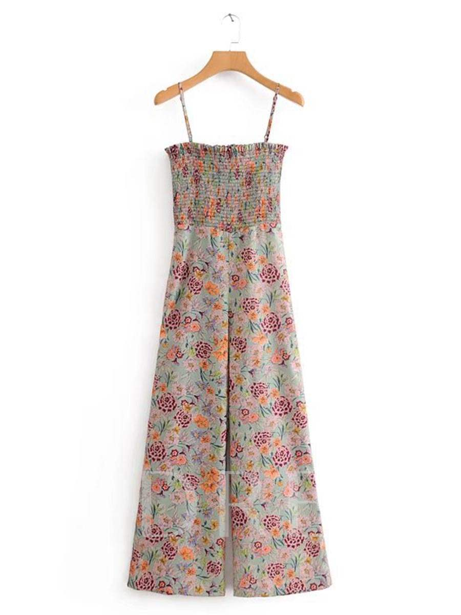 Buy Floral Print Elastic Waist Cami Women's Jumpsuit, Summer, 13318734 for $19.99 in TBDress store