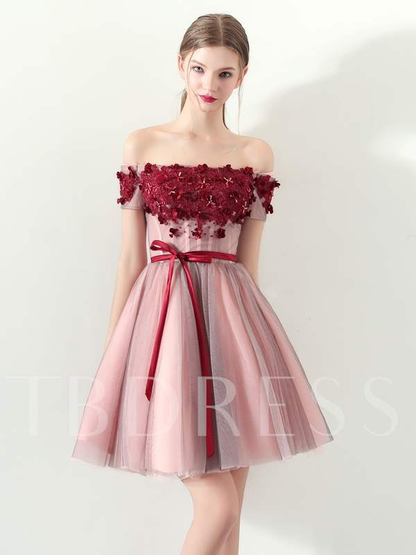 Buy A-Line Off-the-Shoulder Appliques Bowknot Homecoming Dress, Spring,Summer,Fall,Winter, 13331766 for $124.46 in TBDress store