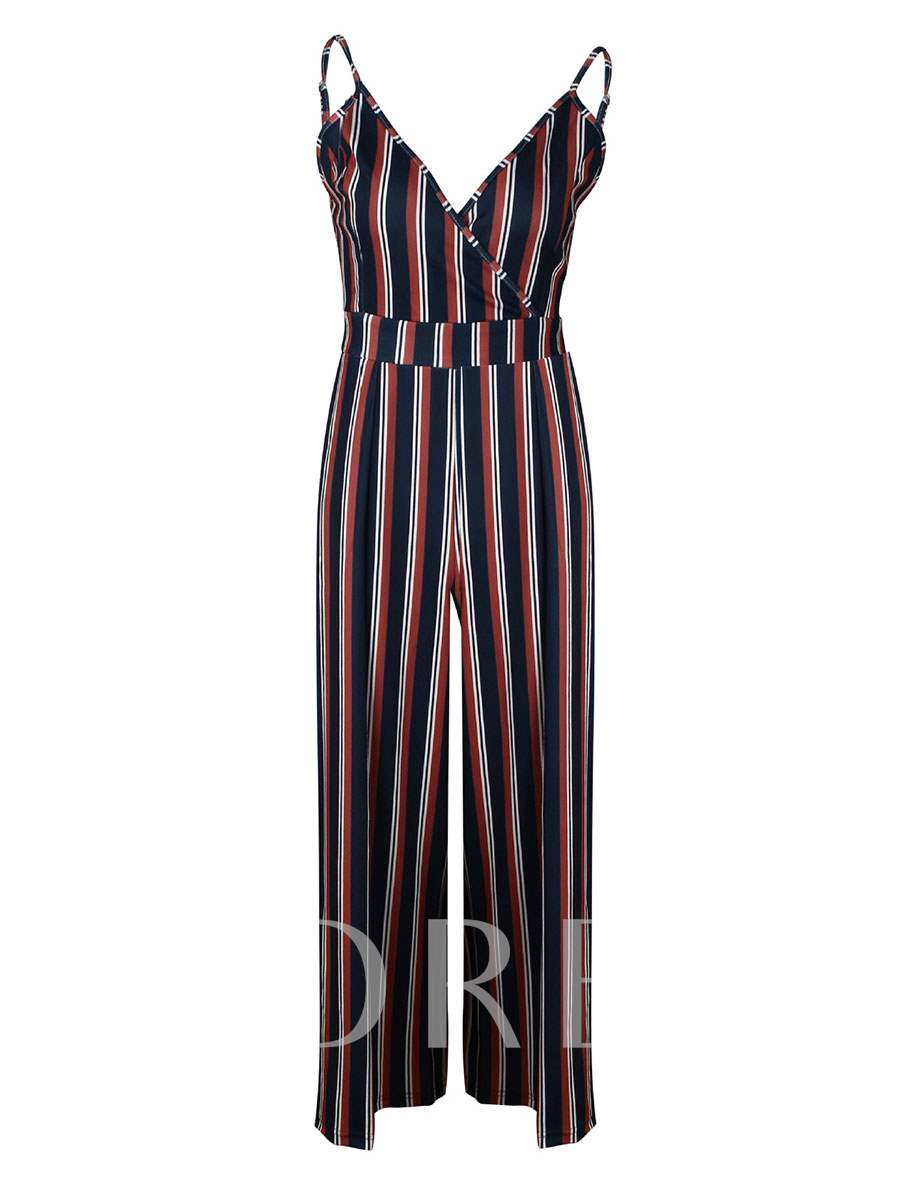 Buy Stripe Floral Print Cami Women's Jumpsuit, Summer, 13321008 for $12.87 in TBDress store
