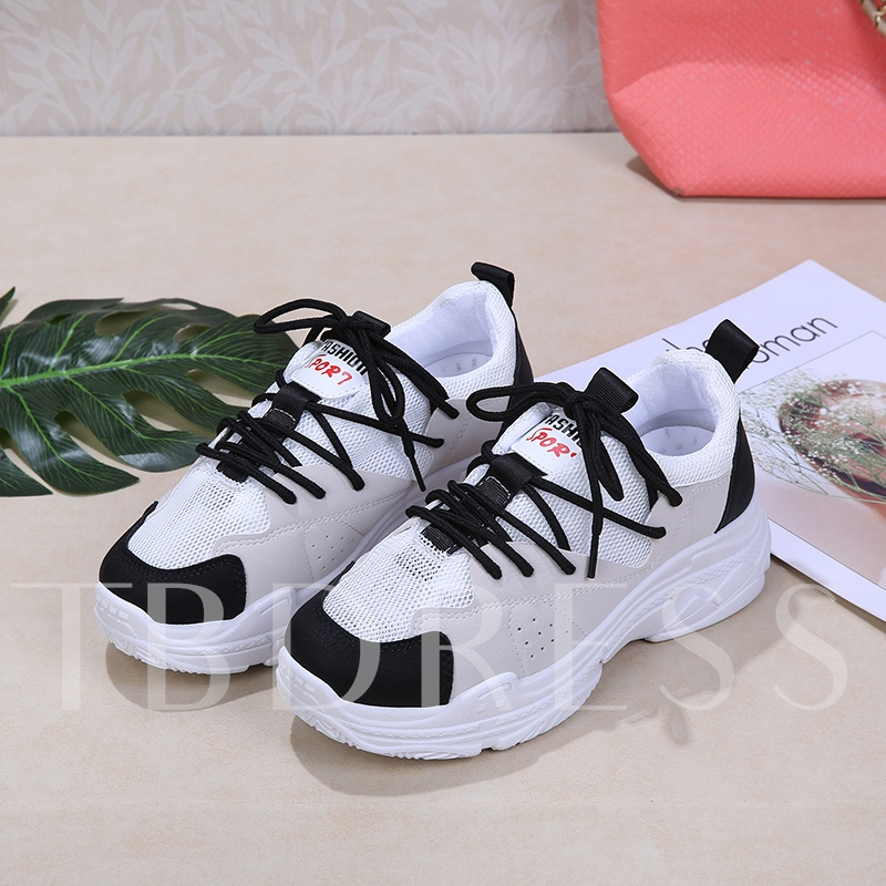 Buy Patchwork Color Block Round Toe Lace Up Women's Sneaker, Spring,Summer,Fall, 13320746 for $33.88 in TBDress store