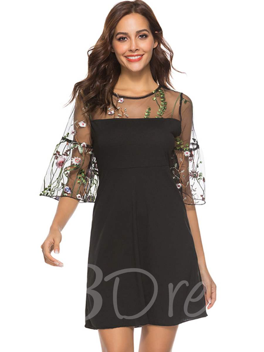 Buy Black 3/4Length Sleeve Embroidery Day Dress, Summer, 13354886 for $14.71 in TBDress store