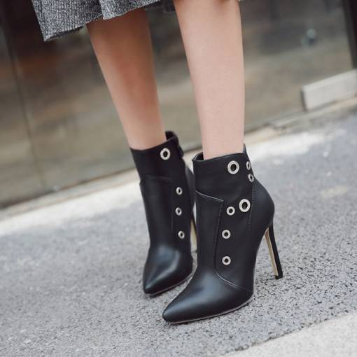Stiletto Heel Pointed Toe Side Zipper Unique Women's Ankle Boots