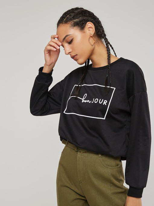 Scoop Neck Letter Print Women's Simple Sweatshirt