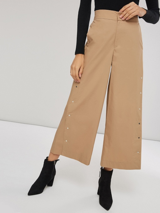 Button Elastic Waist Women's Wide Legs Pants