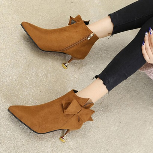 Pointed Toe Suede Side Zipper Bow Ladylike Women's Ankle Boots