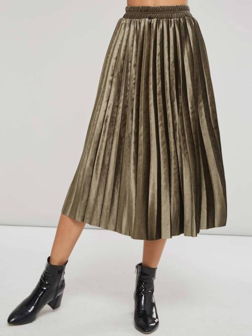Mid Calf Pleated Women's Maxi Skirt