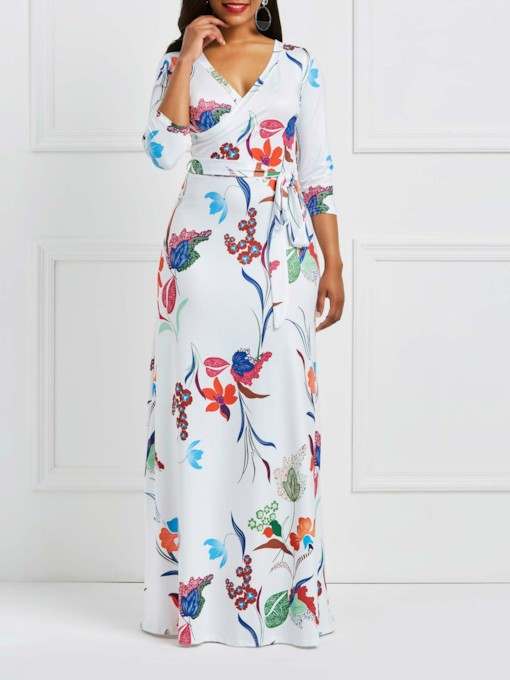 Print Three-Quarter Sleeve V-Neck Women's Maxi Dress