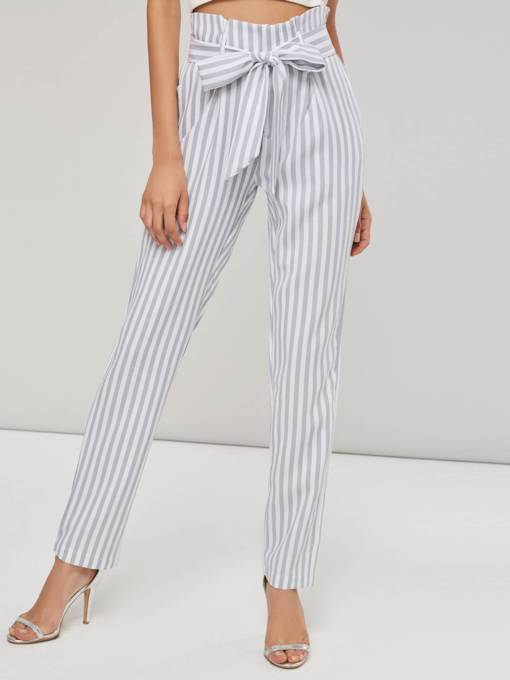 Striped And Tapered Paperbag Pants