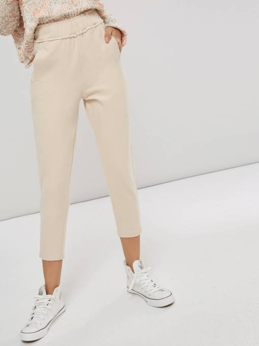 Plain High Waist Pocket Women's Casual Pants
