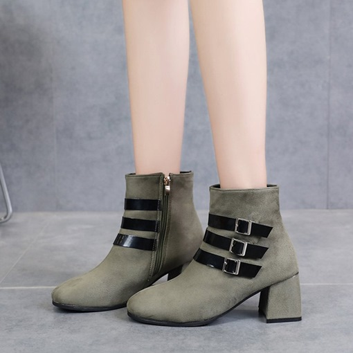 Chunky Heel Side Zipper Buckles Chic Women's Ankle Boots