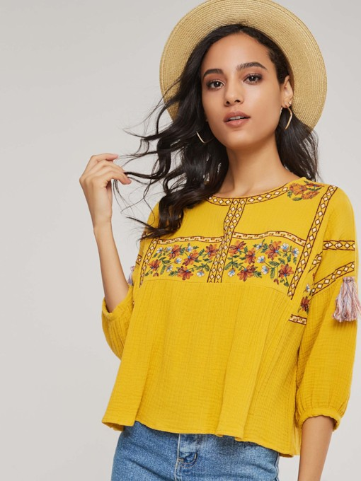 Bohemian Tassel Scoop Neck Lantern Sleeve Women's Blouse