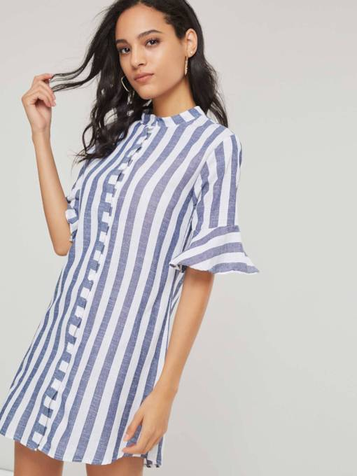 Single-Breasted Mid Length Flare Sleeve Stripe Women's Shirt