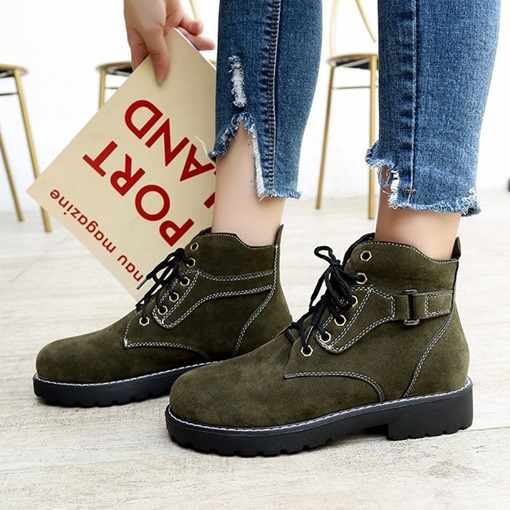 Suede Round Toe Lace-Up Front Block Heel Thread Martin Boots