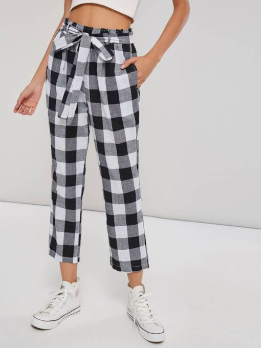 Belted Ankle Length Gingham Print Paper Bag Pants