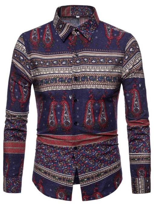 Ethnic Style Floral Printed Slim Lapel Men's Shirt