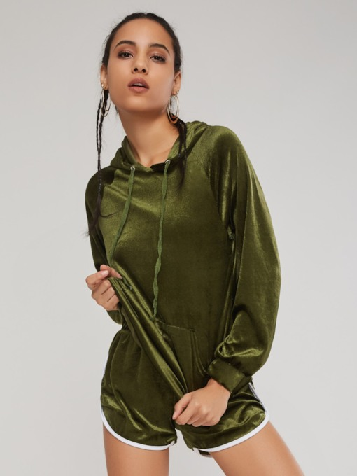 Velvet Pocket Hoodie and Shorts Women's Two Piece Set