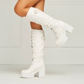 Platform Round Toe Lace-Up Front Knee-High Chunky Heel Women's Boots