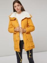 Drawstring Faux Fur Patchwork Women's Cotton Coat