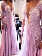 V-Neck A-Line Appliques Beading Brush Train Evening Dress