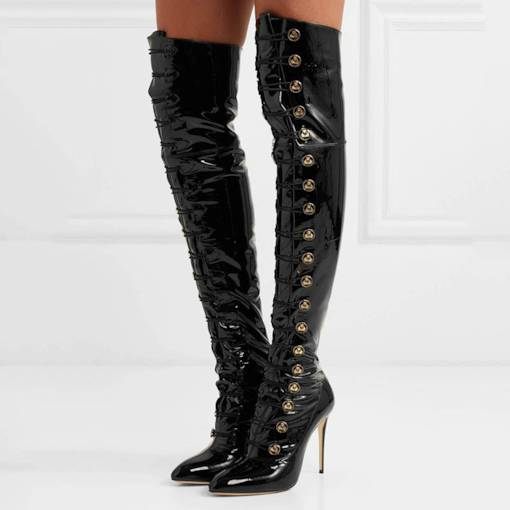 Pointed Toe Lace-Up Front Sequin Sexy Stiletto Heel Otk Boots