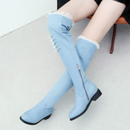 Round Toe Side Zipper Block Heel Worn Denim Women's Knee High Boots