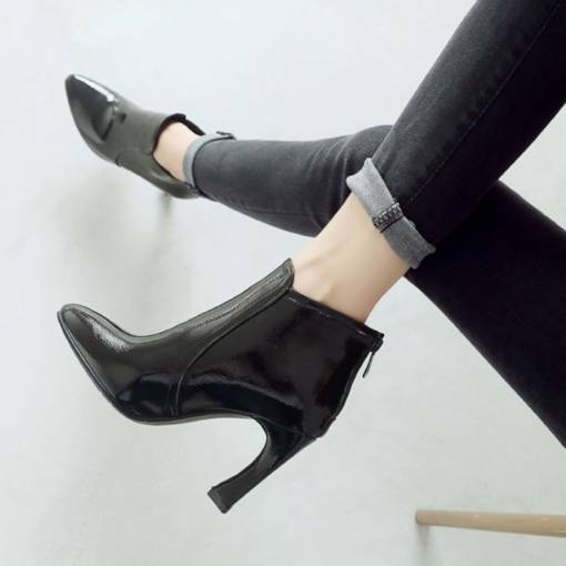 Round Toe Back Zip Chunky Heel Plain Women's Ankle Boots