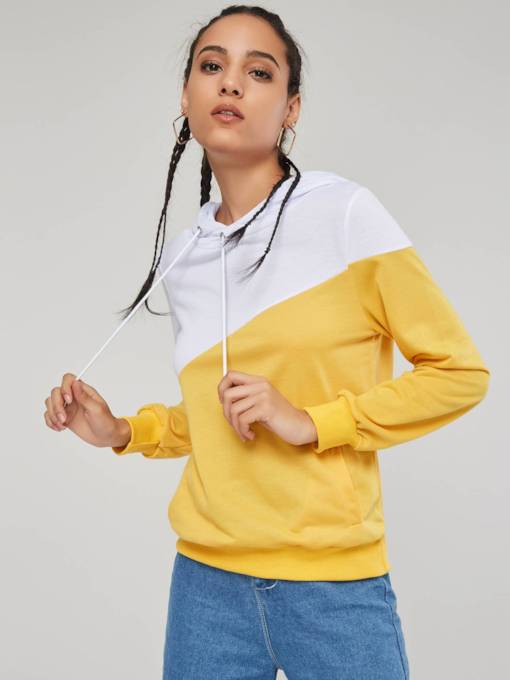 Double Color Block Long Sleeve Women's Hoodie
