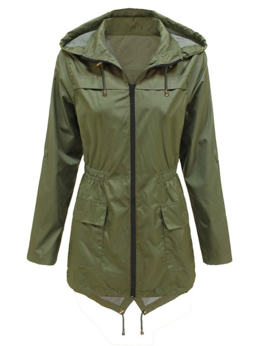 Olive Green Hooded Double-Pocket Tight Wasit Women's Trench Coat